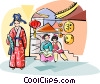 Vector Clip Art graphic  of a Traditional Chinese costumes