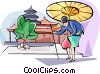Japanese woman walking with her umbrella Vector Clipart image