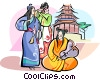 Vector Clipart graphic  of a Chinese musicians in