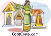 Woman in Grand Palace in Bangkok Thailand Vector Clipart illustration