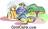 Vector Clipart illustration  of a Chinese farmer planting rice