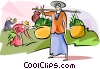 Woman Carrying Rice Plants Vector Clip Art image