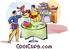 Vector Clip Art picture  of a Chinese father teaching his
