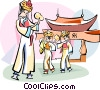 Chinese traditional dance Vector Clip Art graphic