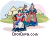 Vector Clip Art image  of a Tibetan women in typical