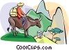 Vector Clip Art image  of a water buffalo crossing mountains