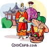 Vector Clipart graphic  of a traditional Chinese wedding