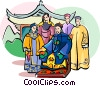 the emperor and his family Vector Clipart illustration