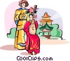 Vector Clip Art image  of a playing on Chinese musical instrument