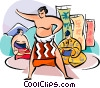 Japanese sumo wrestler Vector Clipart graphic
