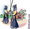 Vector Clipart illustration  of a Japanese Kendo warriors