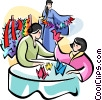 Vector Clip Art graphic  of a Japanese women making origami