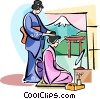 Vector Clipart picture  of a Japanese girls preparing for
