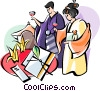 Japanese wedding ceremony Vector Clipart graphic