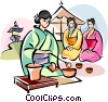 Vector Clipart illustration  of a Japanese girl serving tea