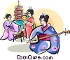 Japanese musicians Vector Clip Art image