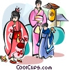 Vector Clipart image  of a Japanese mother and children