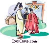 Vector Clip Art graphic  of a Shinto monks