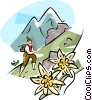 Hiking in the Alps Vector Clip Art image