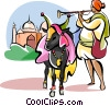 Sacred cow in front of Taj Mahal Vector Clip Art picture