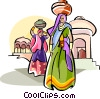 Indian Women carrying water Vector Clipart image