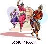 Vector Clipart graphic  of a Indian Hindu dancers