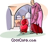 Vector Clip Art picture  of a Buddhist monks