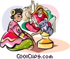 Vector Clipart graphic  of a Indian women in traditional