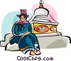 Vector Clip Art graphic  of a Ladakhi woman in traditional