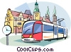 Vector Clip Art graphic  of a European transportation tram
