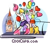 Vector Clip Art graphic  of a Dancers celebrating