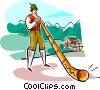 Bavarian Alpenhorn Player Vector Clipart graphic