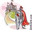 Vector Clip Art graphic  of a Medieval Knight with Castle