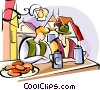 Vector Clipart image  of a German Oktoberfest pub scene