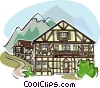 typical Bavarian architecture Vector Clipart illustration
