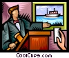 Auctioneer with a bid Vector Clip Art picture