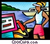 Woman with gas pump at the marina Vector Clipart illustration