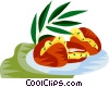 Acaraje, Brazilian deep fried pea cakes Vector Clipart graphic