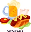 German bratwurst and beer Vector Clipart picture