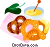 German pretzels and mustard Vector Clipart illustration