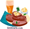 German lard bread with a beer Vector Clipart picture