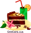 German chocolate cake Vector Clipart illustration