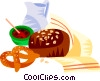 German bread with jam Vector Clipart illustration