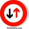 EU traffic sign, priority to oncoming vehicles Vector Clipart graphic