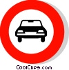 EU traffic sign, no entry for motor cars Vector Clipart picture