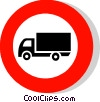 EU traffic sign, lorries prohibited Vector Clipart illustration
