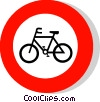 EU traffic sign, cycles prohibited Vector Clipart image