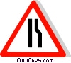 EU traffic sign, road narrows on the right Vector Clip Art picture