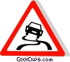 EU traffic sign, slippery road Vector Clipart image