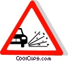 EU traffic sign, loose gravel Vector Clipart picture